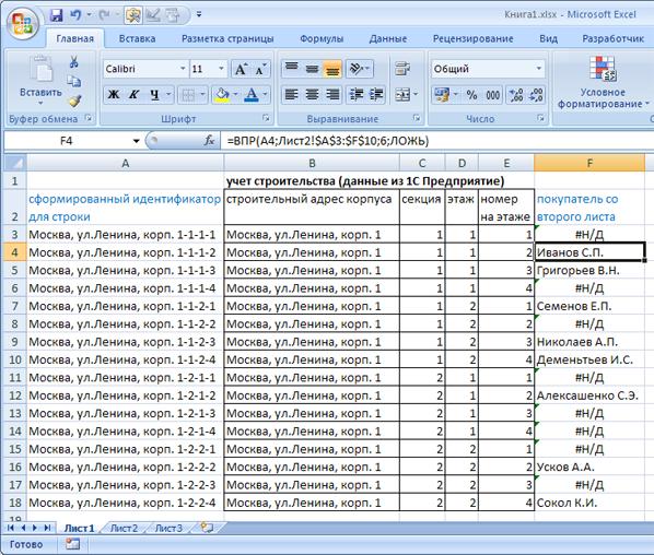 результат сравнения таблиц в Excel